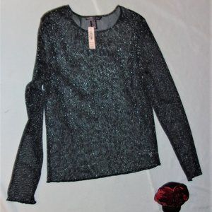 $38 NEW extra small womens sparkle Sheer shirt top